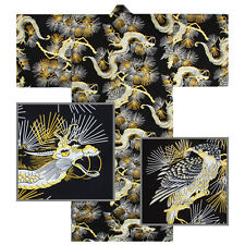 "Kimono Yukata XL Men's 61""L Falcon Dragon Pattern Cotton Black/Made Japan"