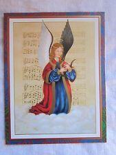 Caspari 20 Christmas Cards/ Envs Angel & Lute Gold Sheet Music Printed Denmark