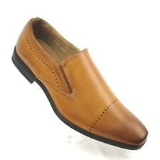 Adolfo Mens Cap Toe Slip On Fashion Shoes Tan 8.5 Loafer Distressed Finish NEW