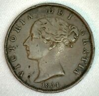 1854 Great Britain 1/2 Penny Coin Half Penny Extra Fine Copper Some Damage