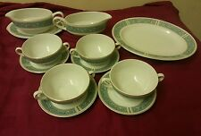 British Anchor Hostess EMBASSY  Soup Coupes Saucers, Gravy Boats, platter 1960's