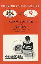 LONDON SCOTTISH v SARACENS 3 Apr 1971 RUGBY PROGRAMME