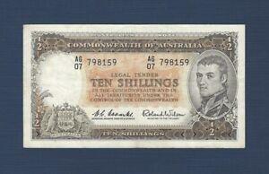 Australia AU 10 Shillings Coombs Wilson Banknote 1954 Commonwealth Bank AU