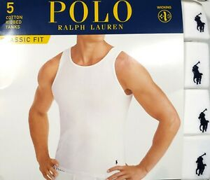 Polo Ralph Lauren Men's White Classic Fit Ribbed Crew-Neck Wicking Tank 5 Pack