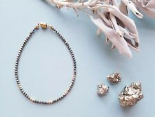 Gorgeous 14K Gold Filled Pyrite with Golden Beads Magnetic Clasp Bracelet