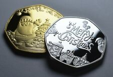 Merry Christmas Duo Set 50p Coin Collectors Santa. Christmas Tree. Baubles. Decs