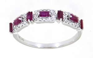 Ruby Baguette Gemstone 14K White Gold 0.49 CT Real Diamond Fancy Band Jewelry