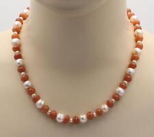 Rosa Mondstein-Kette  mit Perlen Halskette für Damen 50 cm lang