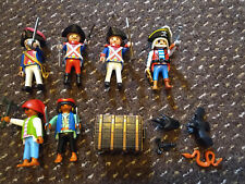 PLAYMOBIL LOT OF 6 PIRATE FIGURES ALL WITH HATS, WEAPONS ETC AND SOME EXTRAS 90s