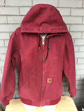 Carhartt Burgundy Red Medium Sandstone Duck Active Mens Jacket Quilted Lined
