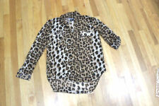 ALLOY APPAREL L/S TOP SIZE L  LEOPARD  2 POCKETS 100% POLYESTER  NWT
