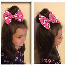 Hello Kitty Bow Bobbles Hairband Headband Hair Tie Bande dress pink heart fabric