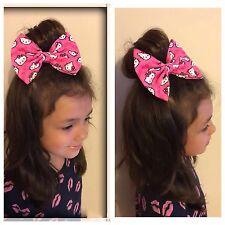 Hello Kitty Pink Bow Fabric Headband Elastic Band Hair Clip Heart Girls Bun