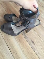 TOPSHOP WOMENS DESIGNER BROWN LEATHER STRAPY HIGH HEEL SHOES SZ 37, 4 UK