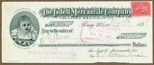 The Isdell Mercantile Company, Pony, MT, Company Check 1898