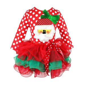 Christmas Kids Baby Girl Red Santa Reindeer Xmas Tulle Party Bow-Knot Tutu Dress
