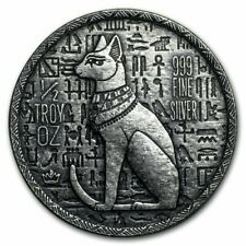 Egyptian Relic Series Cat Bastet 0,5 oz Argento Puro 999 Silver Coin Round USA