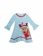 NWT! Girl's Blue & White Christmas dress with Reindeer, Rare Editions, 6 #4