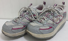 Skechers SHAPE UPS  Ladies Grey /Silver Pink Athletic Walking Shoes Sz 7 Lace Up