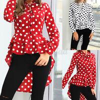Women Ruffle Tiered Peplum Blouse Polka Dot Shirt Plus Size Long Puff Sleeve Top