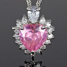 Lady Xmas Jewelry **Heart Cut Pink Sapphire Silver Tone Pendant Necklace*