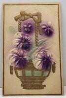 Greeting Embossed Purple Flowers in Golden Basket 1910 KS to IN Postcard G14