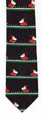 Christmas Gardening Mens Necktie Santa Claus Black Neck Tie Snow Xmas Gift New