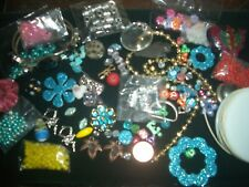 vintage & new Jewelry lot loose beads craft kit silver string charm rhinestone