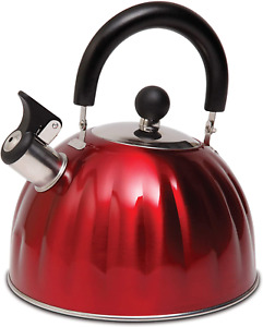 Whistling Tea Kettle Stainless Steel StoveTop Teapot Round Red teakettle 2.1 Qt