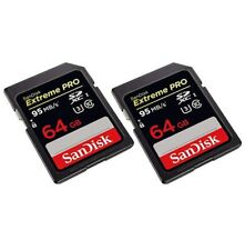 Pack Of 2 Sandisk 64GB SDHC Camera Cards Extreme Pro High Quality Photo 95MB/s