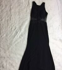 Lulus Long Sleeveless Size XS Mesh Lace Black Lace Maxi Dress Gown Formal J2Y