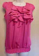 Jane Norman UK8 EU36 US4 bright pink satin ruffle neck cap-sleeved top