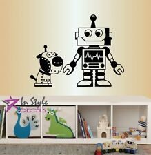 Wall Vinyl Decal Cartoon Robot and Dog Puppy Cyborg Boys Kids Room Sticker 1588
