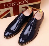 Mens Casual Lace up Oxford Formal Faux Suede Lined Dress Shoes Patent Leather Sz
