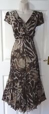 PER UNA Brown Empire Floaty Crinkle Autumnal Evening Occasion Dress Size 16 L