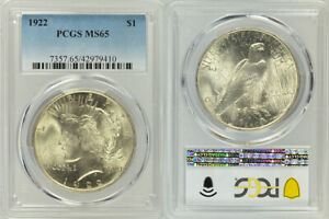 1922 PCGS MS65 UNCIRCULATED SILVER PEACE $1 COIN ! LOVELY HIGHER GRADE COIN !