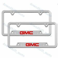 For 2PCS GMC Silver License Plate Frame Stainless Steel Metal New