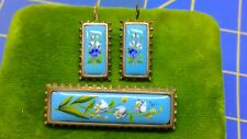 Painted Brooch Earring Set Antique Victorian Gold Filled