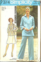 Vintage 70s Simplicity Sewing Pattern 7374 Misses Boho Top Skirt Pants 14 B36