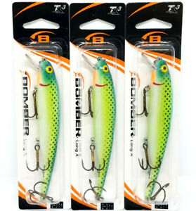 (LOT OF 3) BOMBER LONG A FISHING LURES - 4.5IN 1/2OZ CITRUS MINNOW (B15A426)