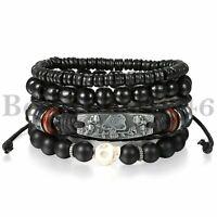 4 Stück Schwarzer Schädel Leder Männer Frauen Tribal Perlen Manschette Armband