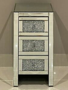 Mirrored Crushed Crystal Diamond Slim 3 Drawer Bedside Cabinet Chest of Drawers