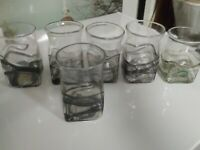 6 Art Glass Tumblers, Pontiled, Unsigned, 5 Purple Iridescent, 1 Green