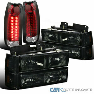 For 94-98 GMC C/K 1500 Smoke Headlights+Bumper Corner Lamps+Red/Clear LED Tail