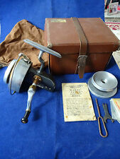 VERY GOOD CASED VINTAGE HARDY ALTEX NO3 MK 5 SPINNING REEL + SPARE SPOOL, TOOLS