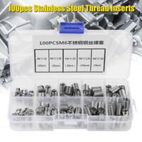 100pcs M6 Stainless Steel Coiled Wire Helical Screw Thread Insert Kit for Repair