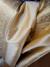 Indian Traditional Banarasi Silk Skin Beige Saree Zari Work Party 7 yard  USA