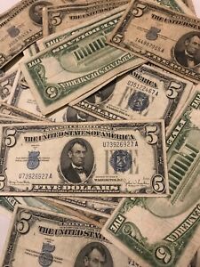 ✯ One RARE 1934 Blue Seal $5 Silver Certificate Note FIVE Dollar Bill Lot Money✯