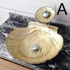 Gold Scallop Tempered Glass Vessel Sink&Waterfall Faucet Combo in Chrome Decor