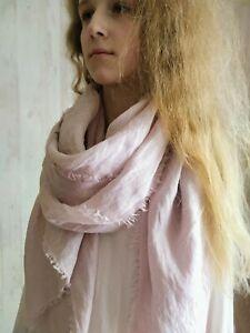 delicate pink organic 100% LINEN long light scarf women unisex flax
